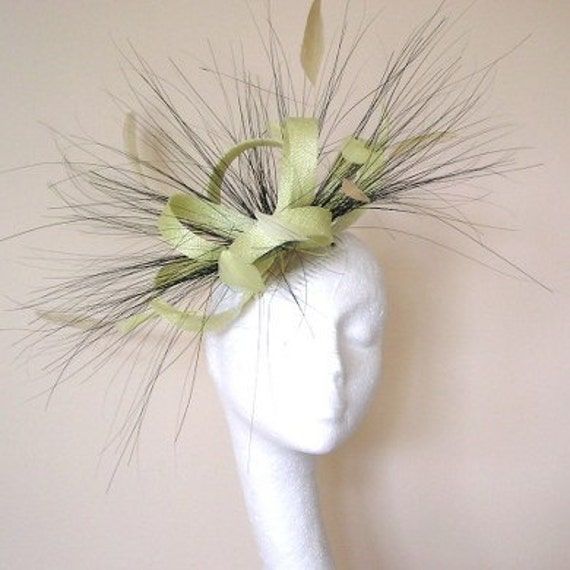 Pale Lime and Black 110  Fascinator Hat for Weddings, Occasions and Parties on a Headband