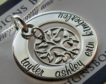 Family Tree Necklace - Personalized Jewelry for Mom