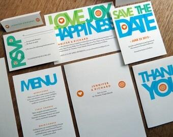 Printable Wedding Invitation Kit - Wedding Printables - Instant Download - PDF Wedding Invite Suite - Print At Home - Bright Typography