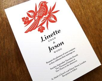 Printable Wedding Invitations - Chinese Wedding Invitation - Black and Red Wedding Invite Instant Download - Asian Wedding Invitation PDF