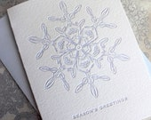 Letterpress Holiday Card - Frosted Blue Snowflake - Set of 6