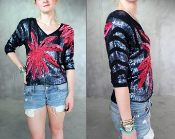 Vintage Beaded Sequin Blouse Red and Black Medium-small