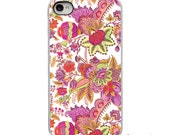 On Sale! Bright Floral Pink Green with White, Black or Clear Sides iPhone Case - IPhone 4, 4S, 5, 5S, 5C Hard Cover - Trendy - artstudio54