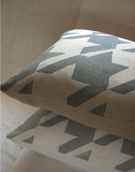 gray or white houndstooth hand block printed linen modern spring home decor decorative pillow cover