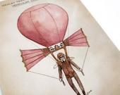Solo Dirigible Balloon postcard art print - steampunk illustration