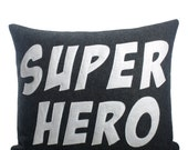SUPER HERO - recycled felt applique pillow 14x18 - more colors available - alexandraferguson