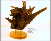 In-Stock, Free USA Shipping, Natural Wood Sculpture No. 2012-02, Historic Kansas Cedar Root Ball Walnut, Brass, Mixed Media Original