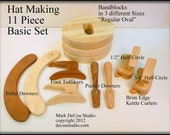 Built-to-Order, Hat Making Eleven (11) Piece Hand Tool Kit Wood Pusher Downer, Foot Tolliker, Puller Downer, Band Blocks, Kettle Curlers