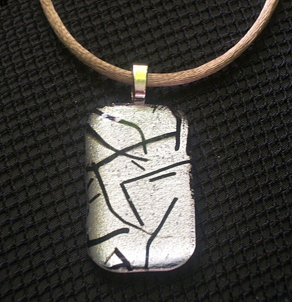 Silver Dichroic Fused Art Glass Pendant CB812A -  DUNE GLASS