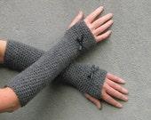 long fingerless gloves/ gothic gray crochet