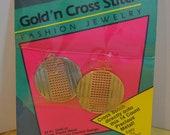 Vintage Gold'n Cross Stitch Fashion Jewelry Earrings Kit