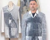 Men's Blazer Cut four-button Jacket handmade made from reclaimed canvas. Unlined, back vent. Size-EXTRA LARGE.