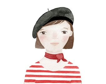 French girl black red striped - Linette Print 8 x 11.5
