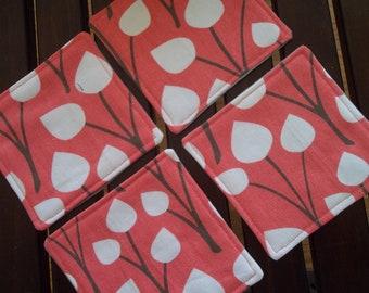 Fabric Coasters Dwell Studio Set of 4 Coral & Grey
