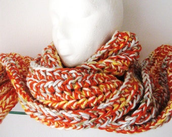 Crochet Long Scarf Chunky Fiesta Orange Gold Green Bulky Neck Warmer Forever