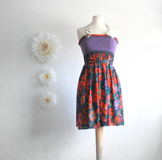 Purple Halter Dress Red Floral Sundress Upcycled Clothing Boho Chic Eco Friendly Clothes Empire Waist Women's Clothes Size Small 'THANDY'