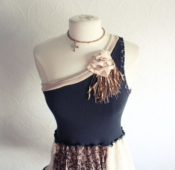 Upcycled Clothing One Shoulder Black Top Brown Tunic Shirt Bohemian Style Eco Friendly Women's Clothes Small Medium 'JOELLA'