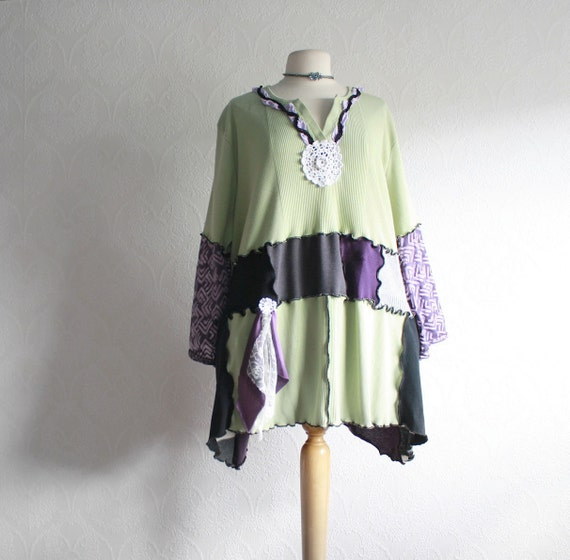 Wearable Art Green Plus Size Top 5X Bohemian Clothing Purple Tunic Upcycled Clothes Recycled Tshirt Eco Friendly 'PHOENIX'