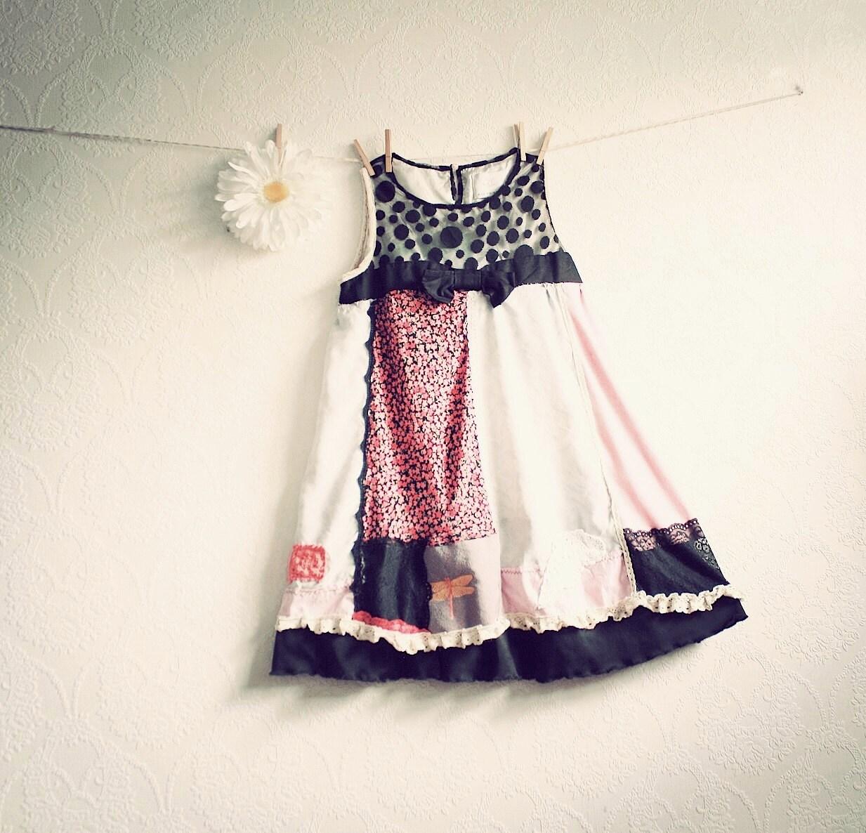 Shabby Chic Babydoll Dress Eco Upcycled Clothing Pink