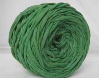 T-shirt yarn- Kelly Green - 60 yards- Hand Dyed- T shirt Yarn- Cotton Yarn- Recycled Yarn- Tshrit yarn- Green Yarn- Chunky Yarn- Bulky Yarn
