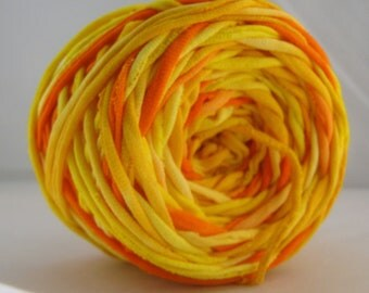 T Shirt Yarn Hand Dyed- Fire 60 Yards
