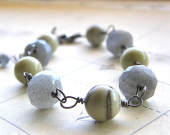 Yellow and Grey Bracelet, Tallow Jade and Labradorite Bracelet, Rustic Bracelet