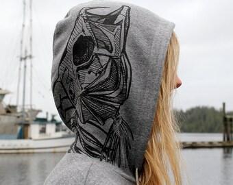 Skeleton Mermaid Grey Pullover Hoodie