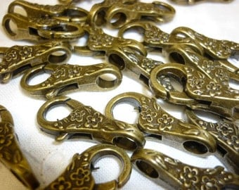 4 Ornate Bronze Floral Lobster Clasp
