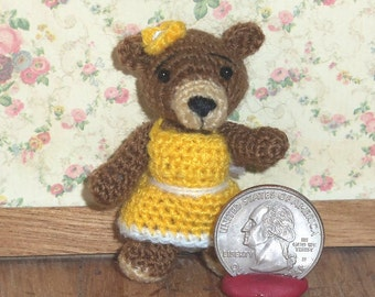 Miniature Crochet Bear Thread Artist Bear  Ready to Ship