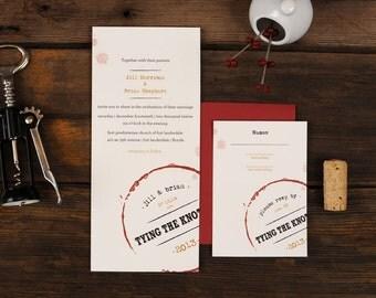 Wine Wedding Invitations - Vino Stain Vineyard Oxblood Aged