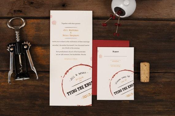wine wedding invitations vino stain vineyard oxblood aged, Wedding invitations