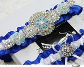 Luxury Wedding Garter Set / Bridal garter set / Keepsake/ Toss/ Garter  - ROYAL  BLUE satin ribbon, beaded rhinestone applique