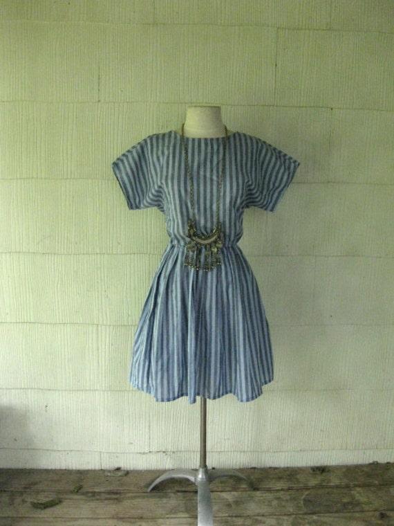 VINTAGE 70s striped mini dress full skirt