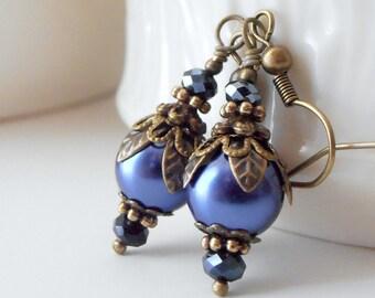 Set of 6 Bridesmaid Earrings Midnight Blue Pearl Earrings Vintage Style Jewelry for Bridal Party Dark Blue Wedding Antiqued Bead Earrings