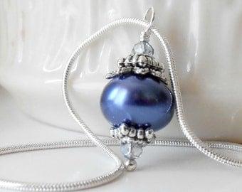 Navy Pearl Necklace, Dark Blue Bridesmaid Jewelry, Beaded Pendant, Midnight Blue Wedding Sets