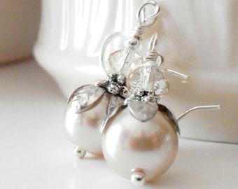 Beige Pearl Earrings in Silver Beaded Bridesmaid Earrings Champagne Wedding Jewelry Set Pearl and Crystal Jewellery Emmeline