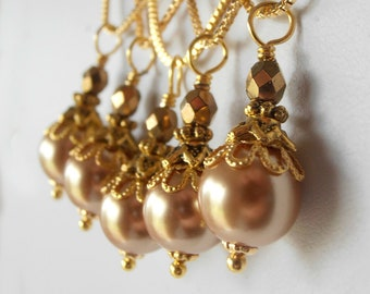 Gold Pearl Bridesmaid Jewelry Sets Swarovski Crystal Pearl Pendant Necklace Beaded Wedding Jewelry