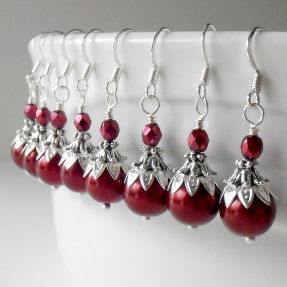 Red Pearl Dangles, Beaded Bridesmaid Earrings, Apple Wedding Jewelry Sets, Silver Plated or Sterling Earring Wires, Pierced or Clip On