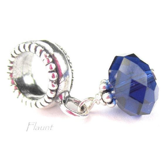 Sapphire Blue Crystal Charm for European Bracelets, Sterling Silver, September Birthstone Jewelry