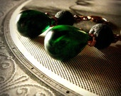 Lush Bud earrings upcycled vintage marbled emerald bead drops
