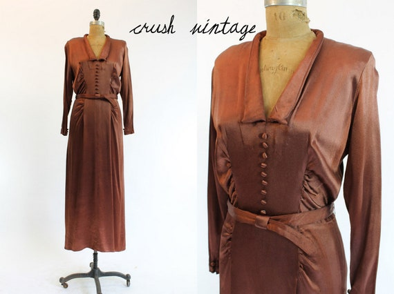 30's Dress S-M /  1930's Satin Dress / Copper Satin Bias Cut Gown