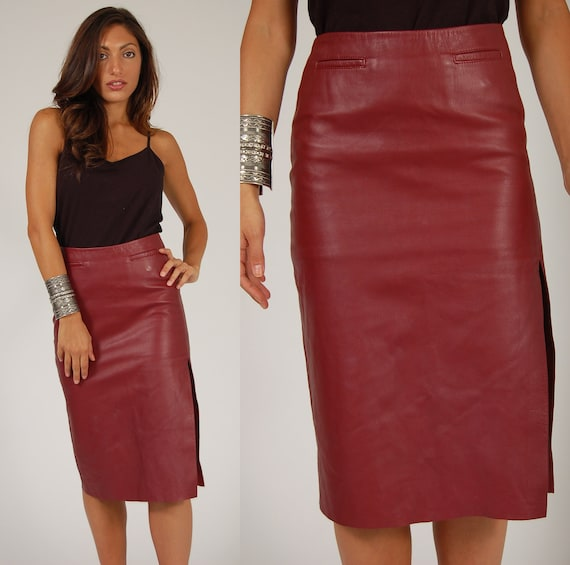 90s LEATHER Pencil SKIRT Maroon Body Con Midi XS