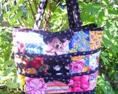 My Flower Garden Inspiration - Quilted Cotton Tote w/ Bow Appliques and Matching Zipper Pouch - Made to Order