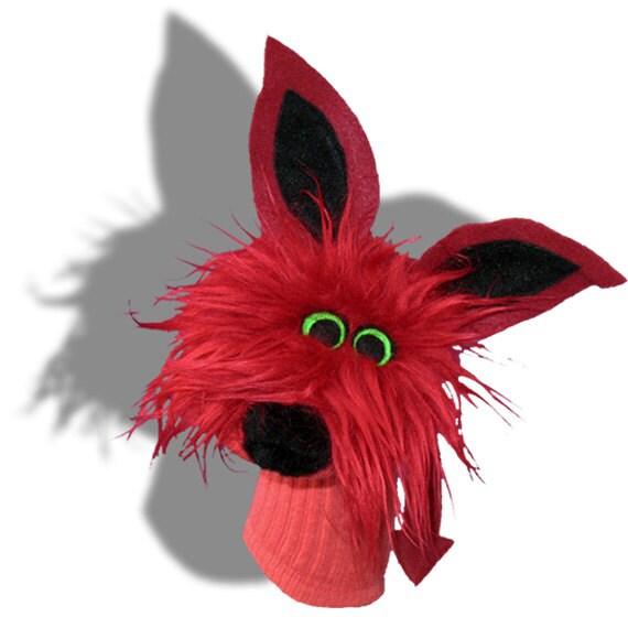 Furry Red Monster Sockett®Sock Puppet