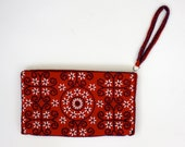 Red Wristlet Clutch with Navy and White Beading
