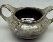 Vintage Drip Pottery Open Sugar Dish bowl Beige and Brown Evangeline Canadian No 904