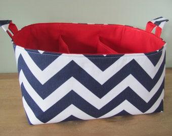 "Diaper Caddy - Fabric Storage Basket - 11""x11"" Organizer Bin - Storage box - Diaper Bag - Baby Gift - Nursery Decor - Navy Chevron Zigzag"