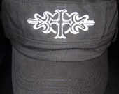 Ladies Embroidered Military Style Hat- Fancy Cross- Black Hat