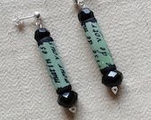 Green and Black Earrings with French Writing Script on Sterling Silver Post Fabric Crystal