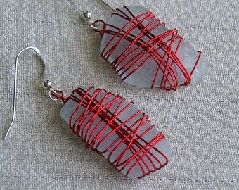 White Sea Glass Earrings With Red Wire Wrap Sterling Silver French Hooks Chesapeake Bay Beach Sea Glass Maryland